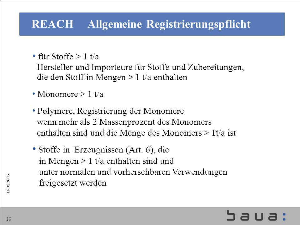 REACH Allgemeine Registrierungspflicht