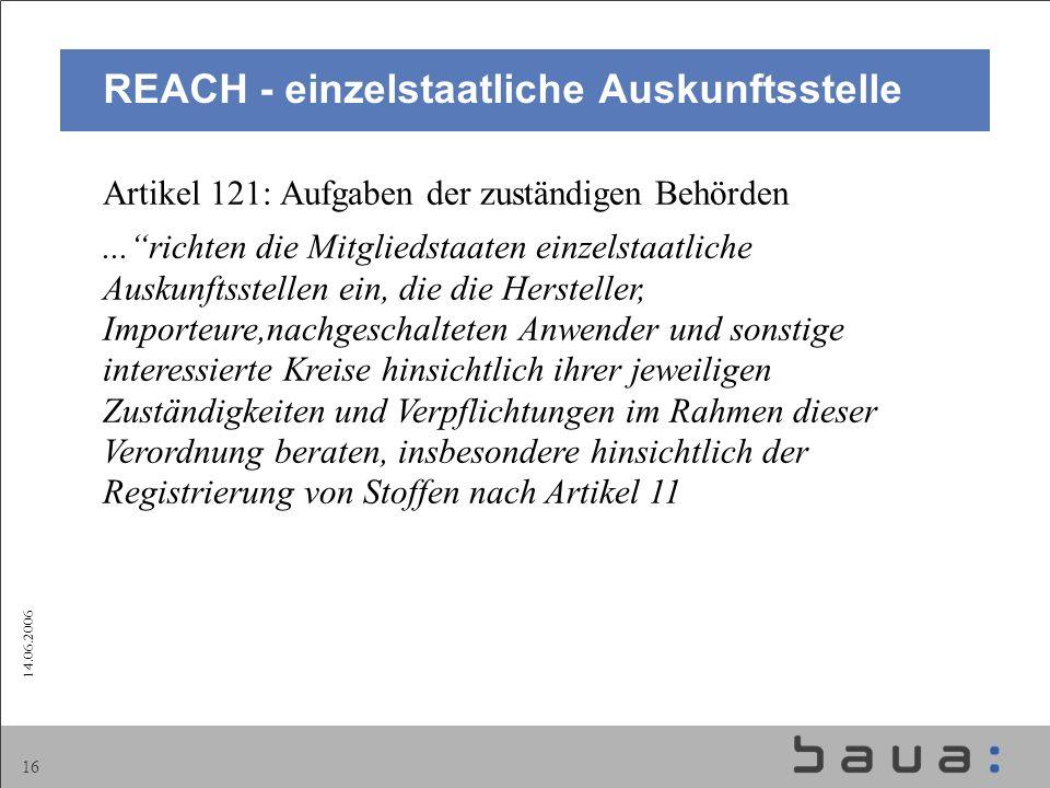 REACH - einzelstaatliche Auskunftsstelle
