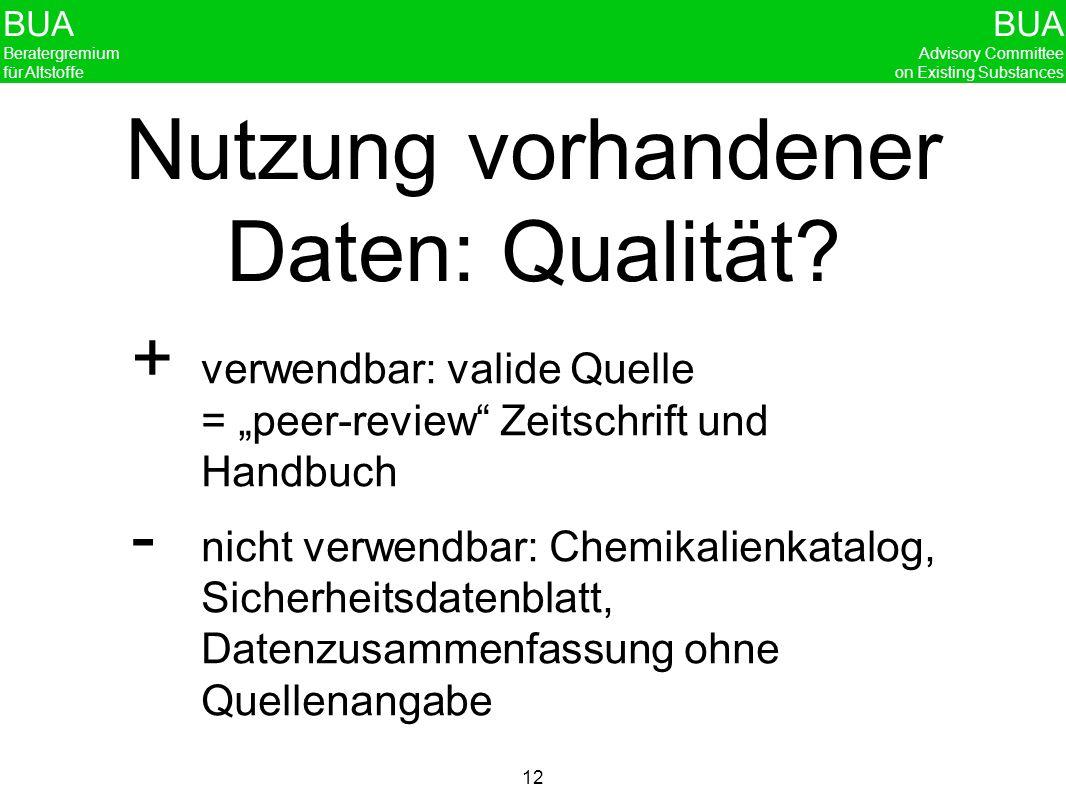 Nutzung vorhandener Daten: Qualität