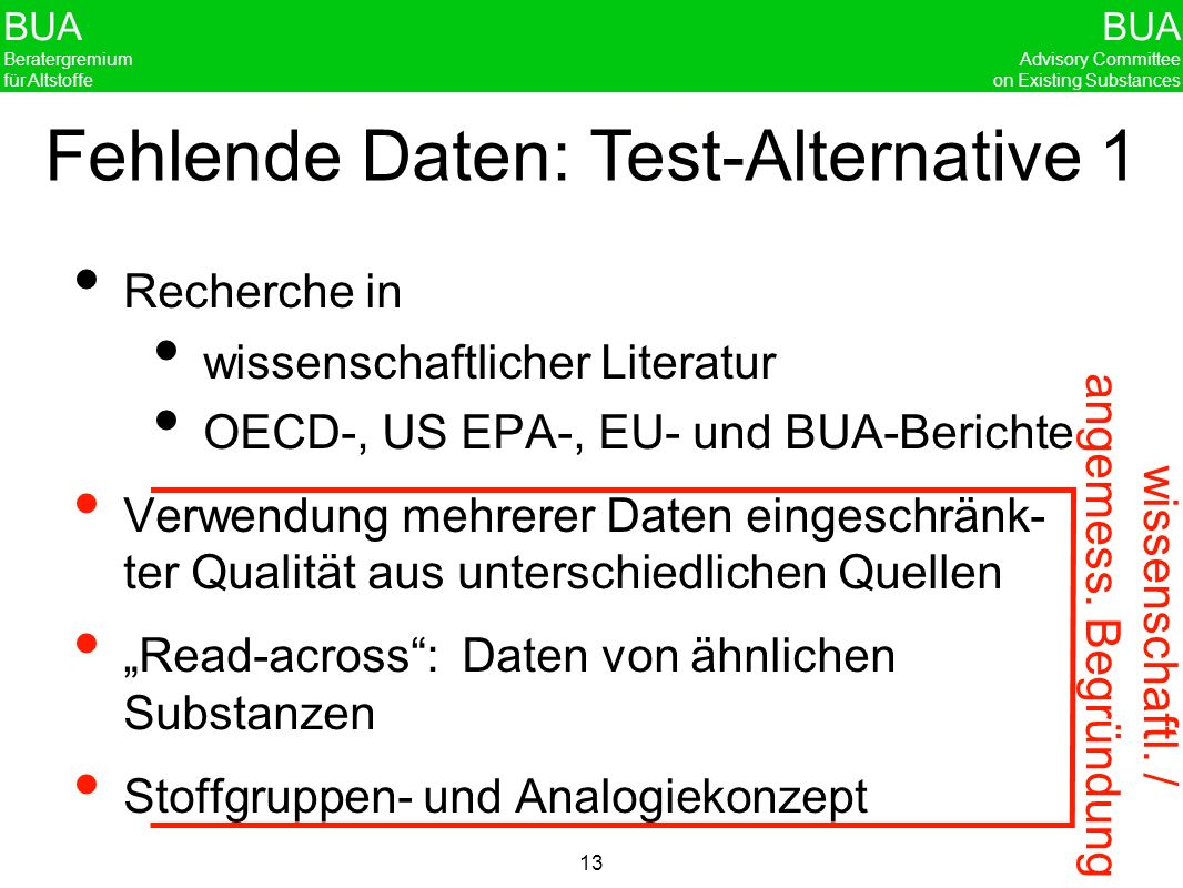 Fehlende Daten: Test-Alternative 1