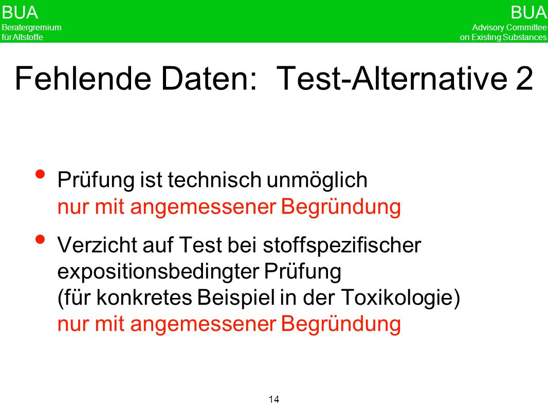 Fehlende Daten: Test-Alternative 2