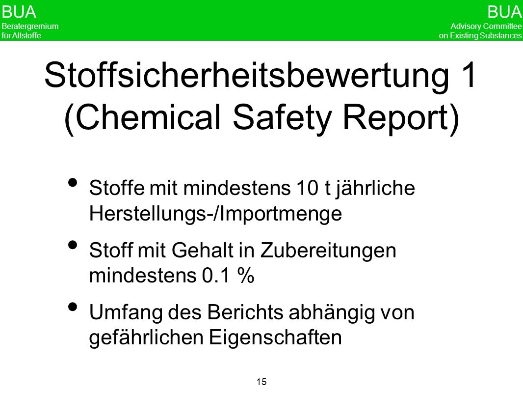 Stoffsicherheitsbewertung 1 (Chemical Safety Report)
