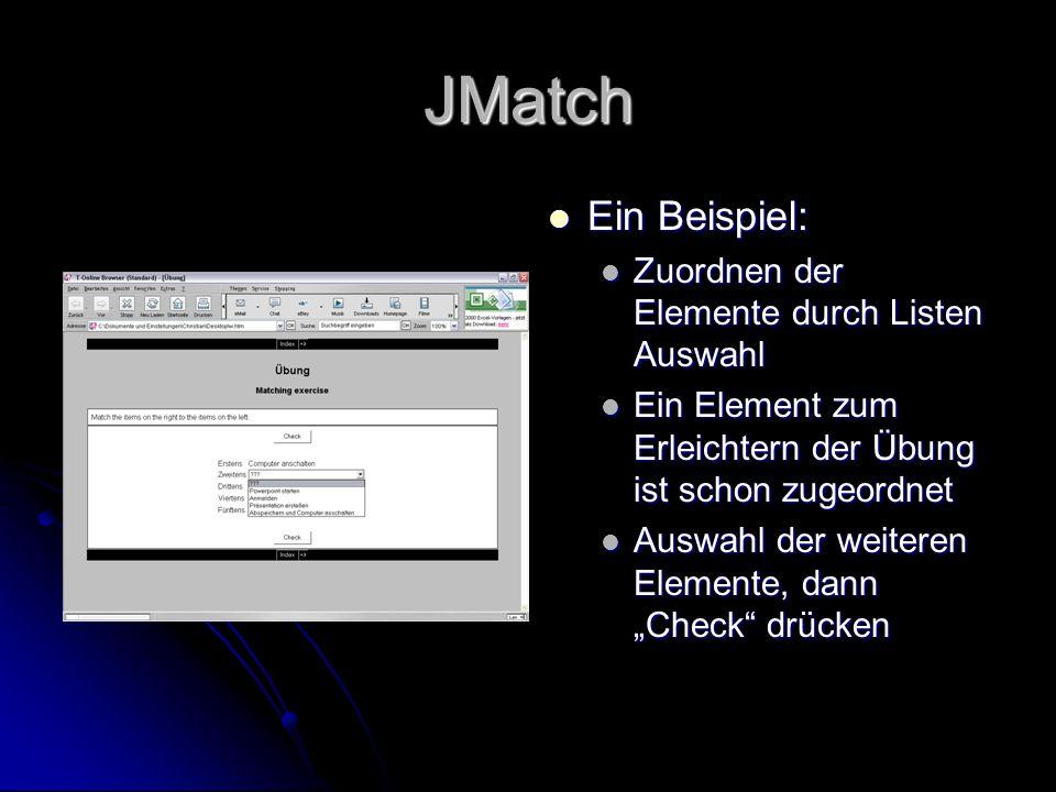 JMatch Ein Beispiel: Zuordnen der Elemente durch Listen Auswahl