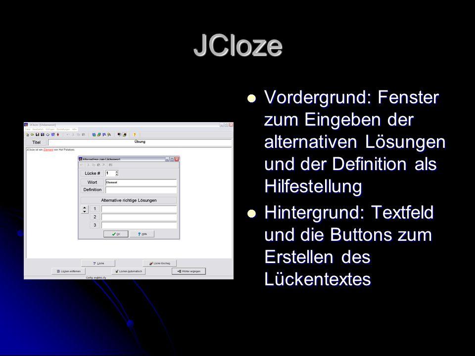 JCloze Vordergrund: Fenster zum Eingeben der alternativen Lösungen und der Definition als Hilfestellung.