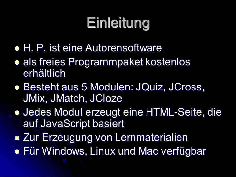 Einleitung H. P. ist eine Autorensoftware