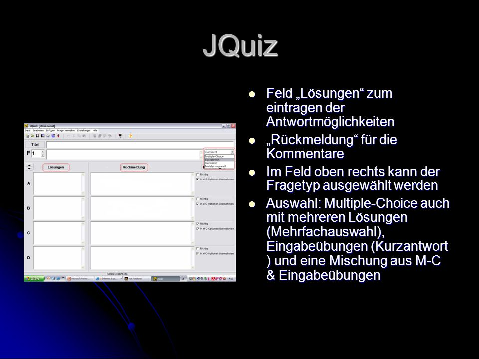 """JQuiz Feld """"Lösungen zum eintragen der Antwortmöglichkeiten"""
