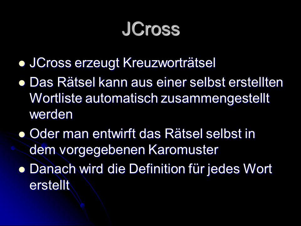 JCross JCross erzeugt Kreuzworträtsel