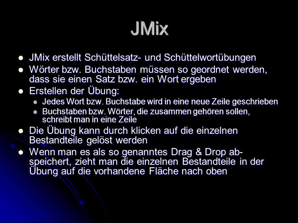 JMix JMix erstellt Schüttelsatz- und Schüttelwortübungen