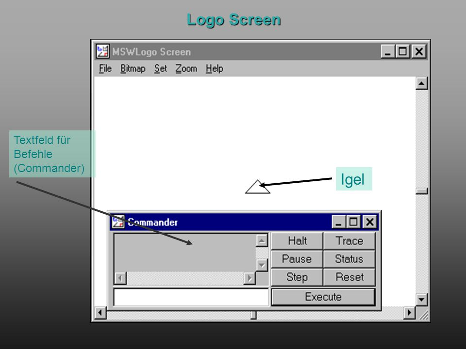Logo Screen Textfeld für Befehle (Commander) Igel