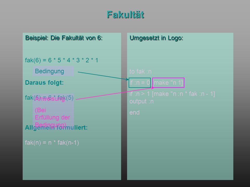 Fakultät Beispiel: Die Fakultät von 6: fak(6) = 6 * 5 * 4 * 3 * 2 * 1