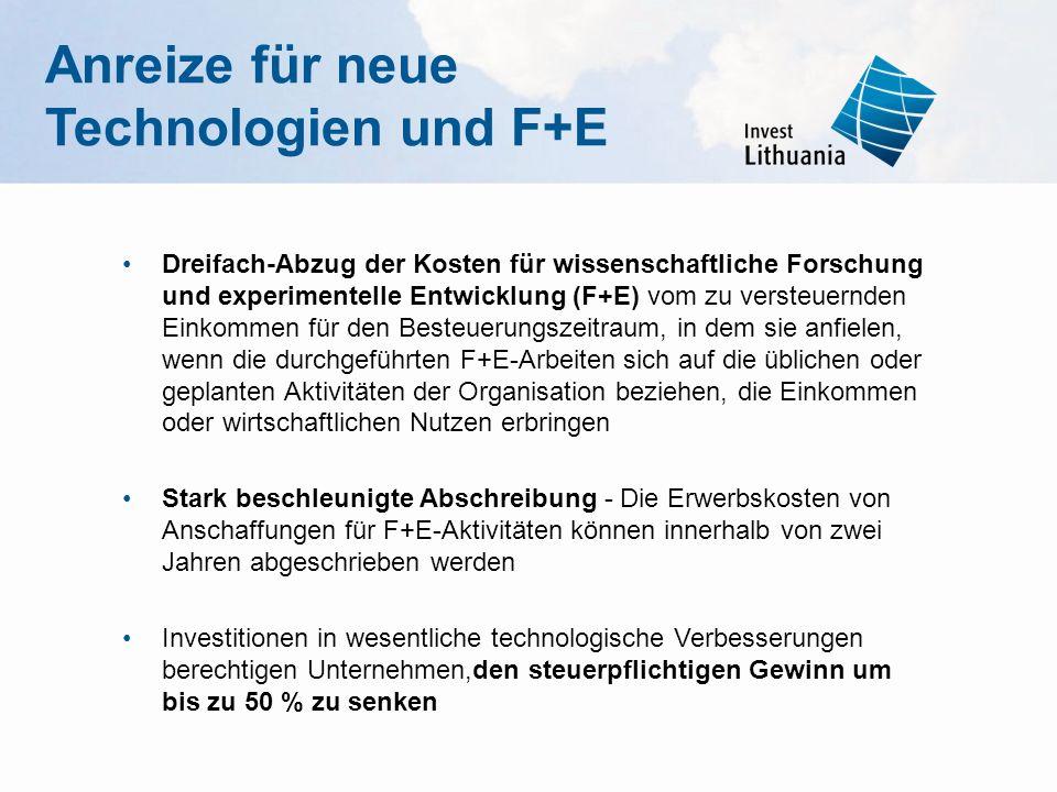 Anreize für neue Technologien und F+E