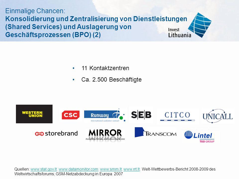 Einmalige Chancen: Konsolidierung und Zentralisierung von Dienstleistungen (Shared Services) und Auslagerung von Geschäftsprozessen (BPO) (2)