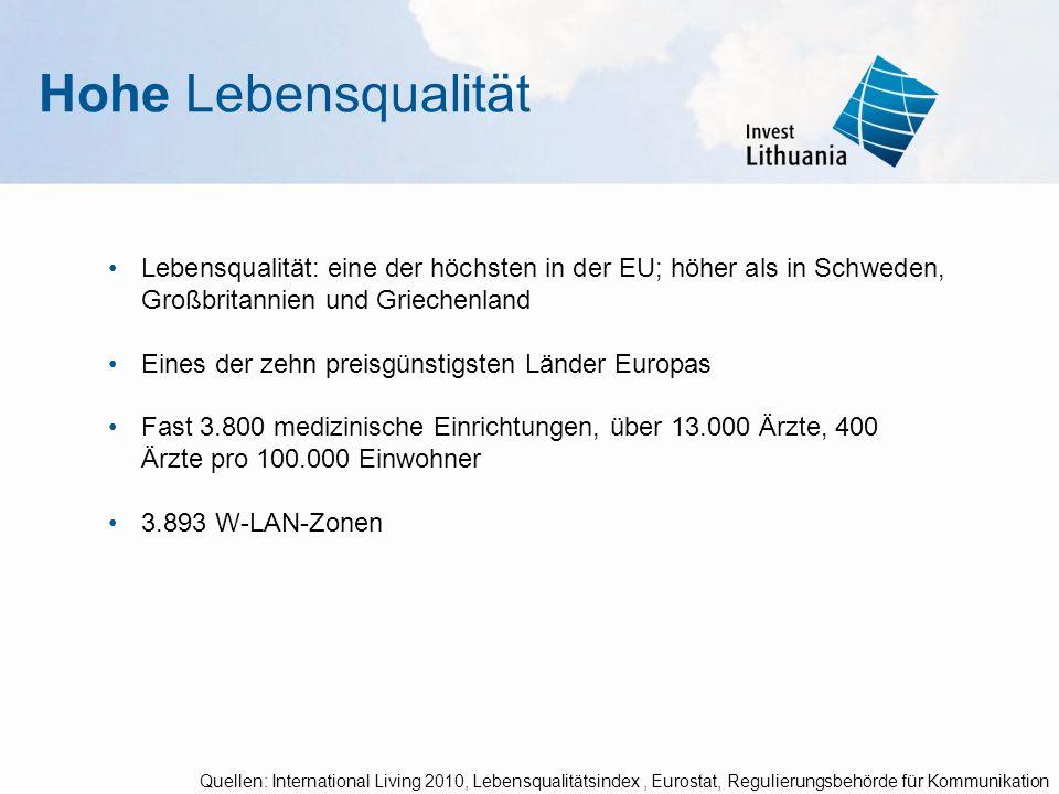 Hohe Lebensqualität Lebensqualität: eine der höchsten in der EU; höher als in Schweden, Großbritannien und Griechenland.