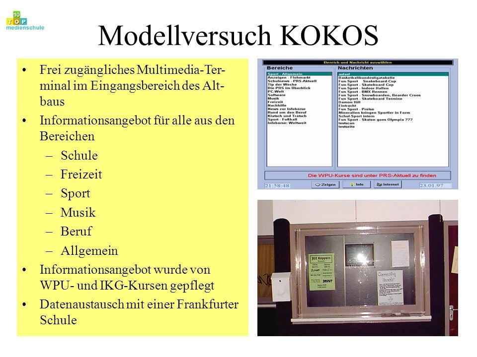 Modellversuch KOKOS Frei zugängliches Multimedia-Ter-minal im Eingangsbereich des Alt-baus. Informationsangebot für alle aus den Bereichen.