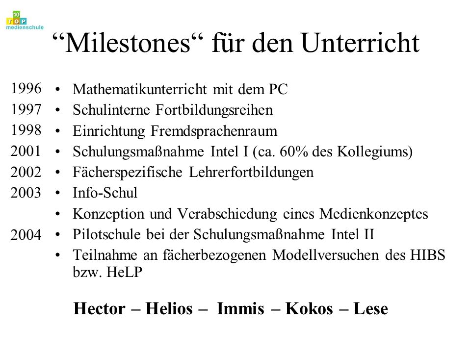Milestones für den Unterricht
