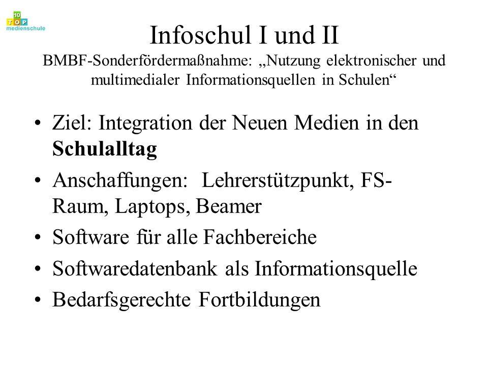 """Infoschul I und II BMBF-Sonderfördermaßnahme: """"Nutzung elektronischer und multimedialer Informationsquellen in Schulen"""