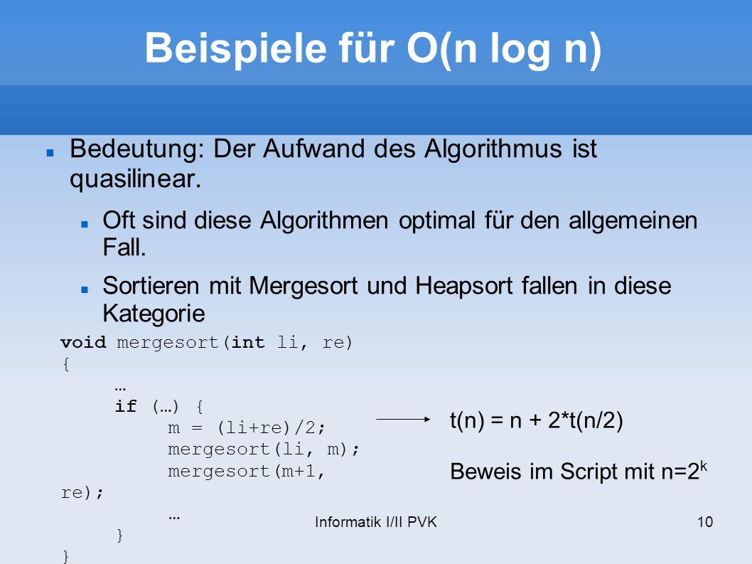 Beispiele für O(n log n)