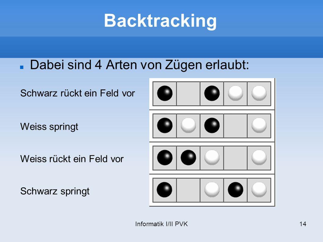 Backtracking Dabei sind 4 Arten von Zügen erlaubt: