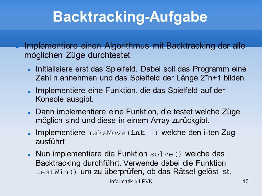 Backtracking-Aufgabe