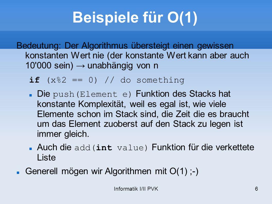 Beispiele für O(1)