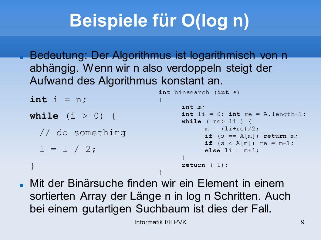 Beispiele für O(log n)