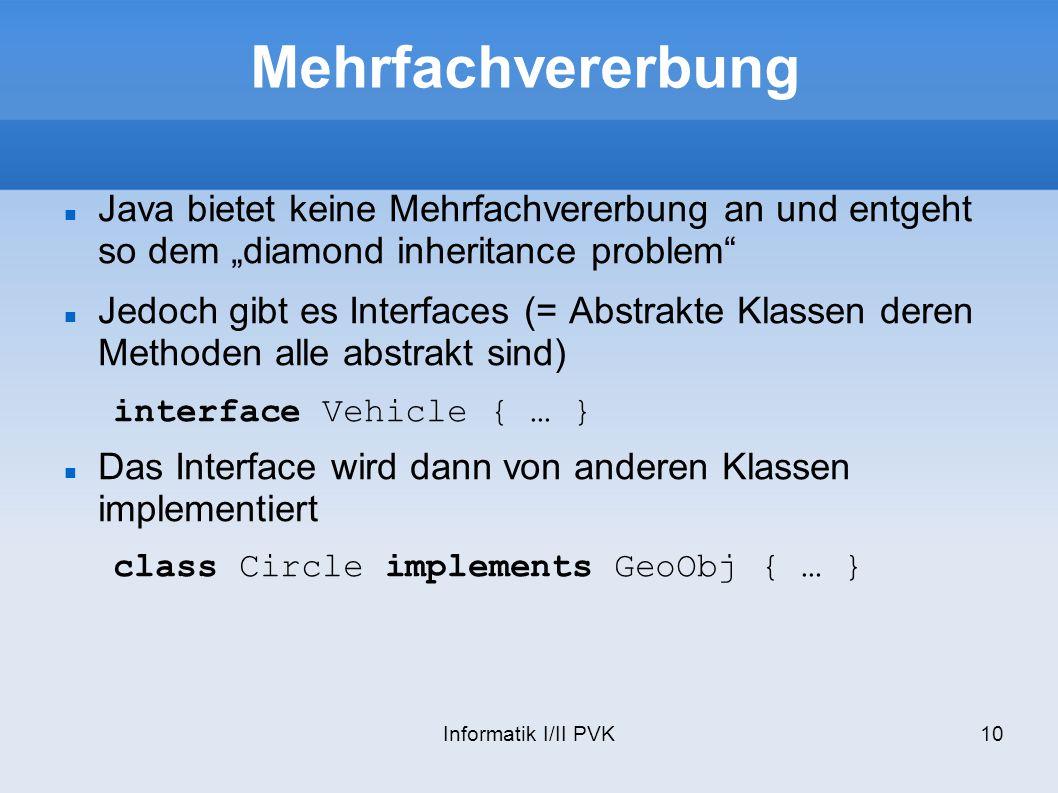 """Mehrfachvererbung Java bietet keine Mehrfachvererbung an und entgeht so dem """"diamond inheritance problem"""