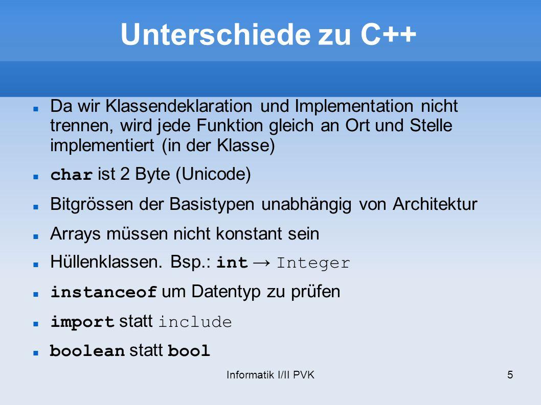 Unterschiede zu C++