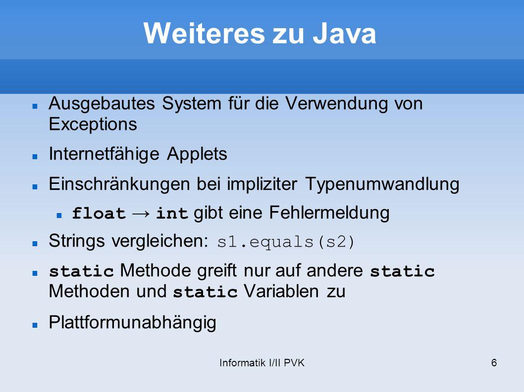 Weiteres zu Java Ausgebautes System für die Verwendung von Exceptions