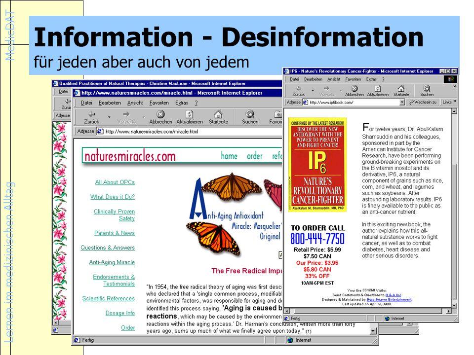 Information - Desinformation für jeden aber auch von jedem