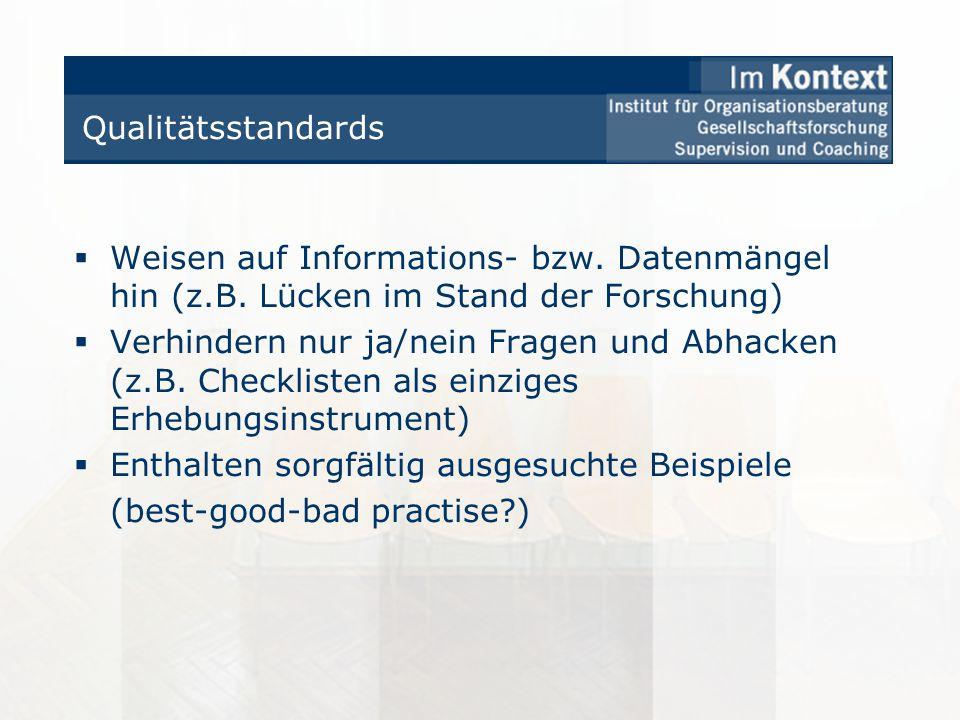 Qualitätsstandards Weisen auf Informations- bzw. Datenmängel hin (z.B. Lücken im Stand der Forschung)