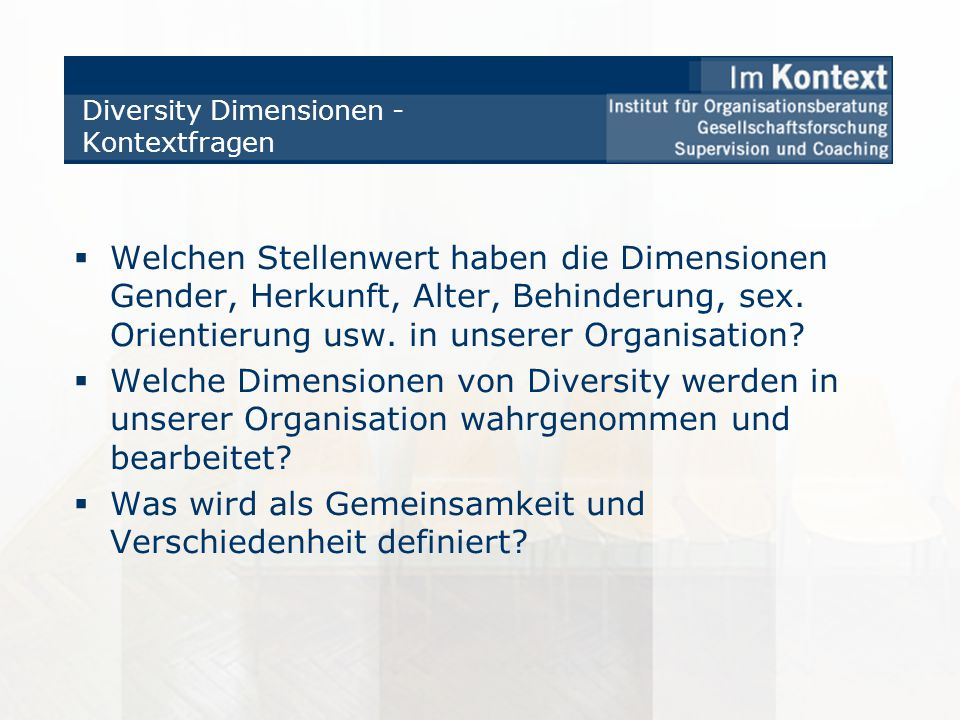 Diversity Dimensionen - Kontextfragen