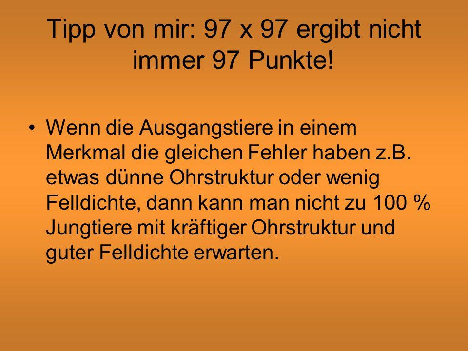 Tipp von mir: 97 x 97 ergibt nicht immer 97 Punkte!