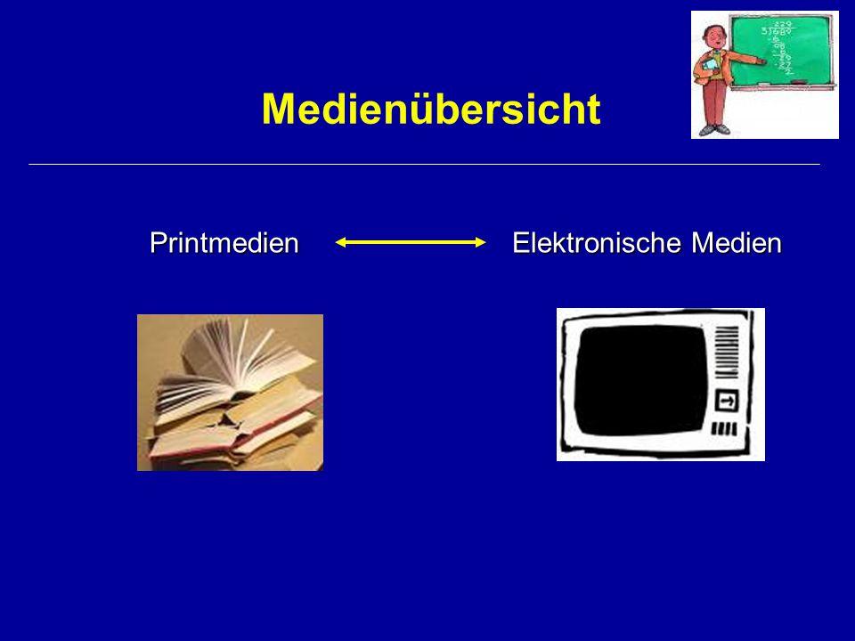 Medienübersicht Printmedien Elektronische Medien