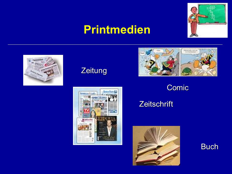 Printmedien Zeitung Comic Zeitschrift Buch