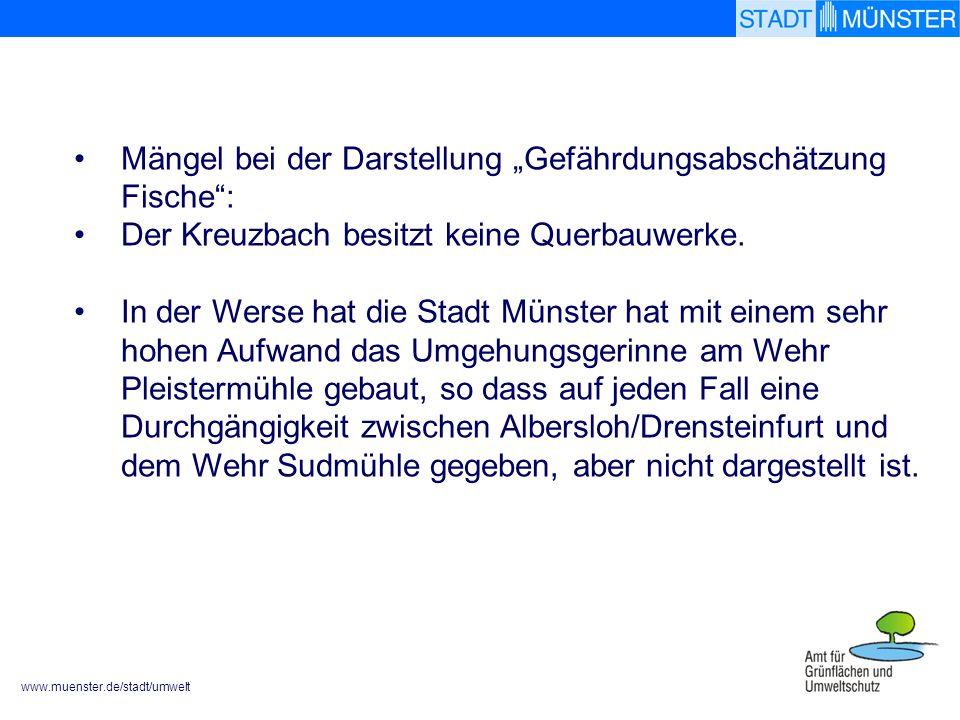 """Mängel bei der Darstellung """"Gefährdungsabschätzung Fische :"""