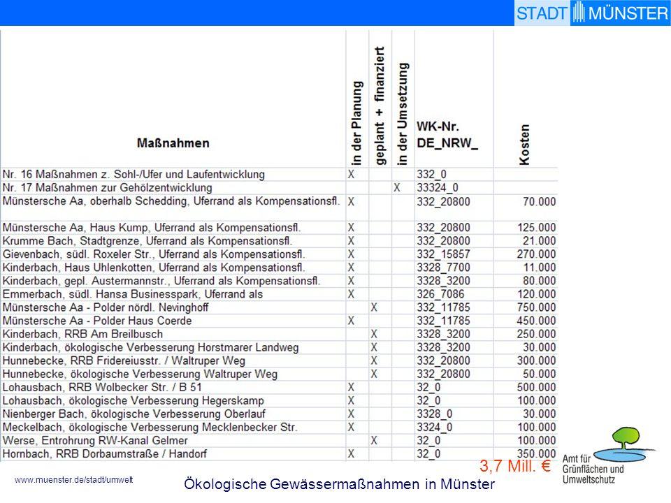 3,7 Mill. € Ökologische Gewässermaßnahmen in Münster