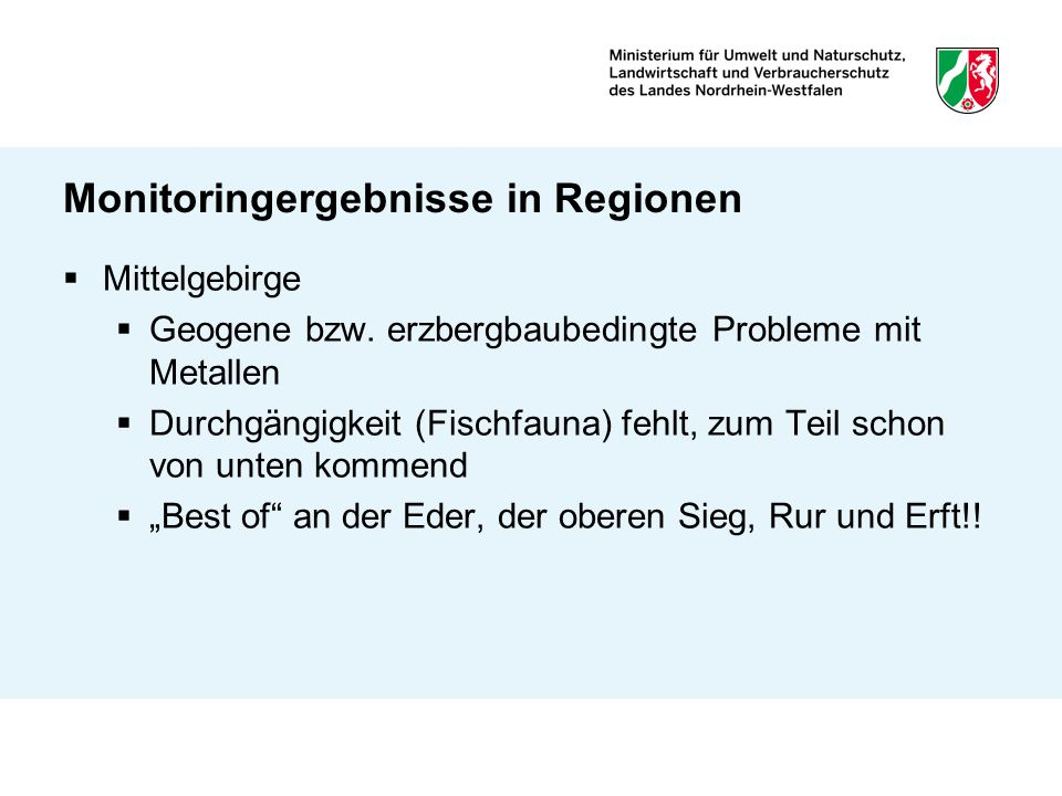 Monitoringergebnisse in Regionen