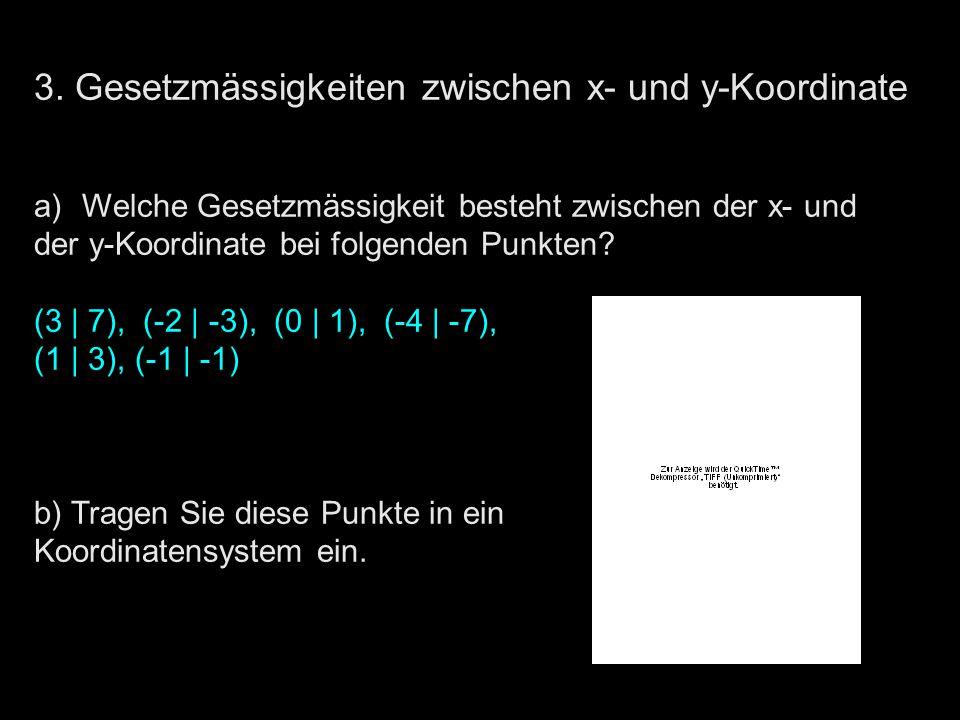3. Gesetzmässigkeiten zwischen x- und y-Koordinate