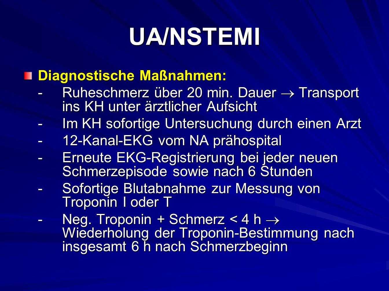 UA/NSTEMI Diagnostische Maßnahmen: