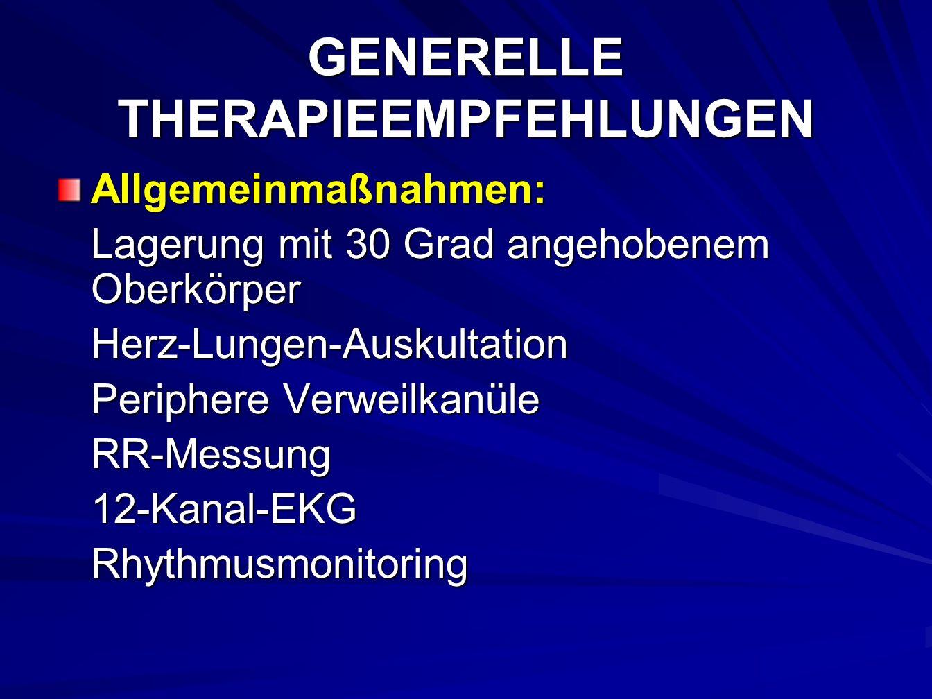 GENERELLE THERAPIEEMPFEHLUNGEN