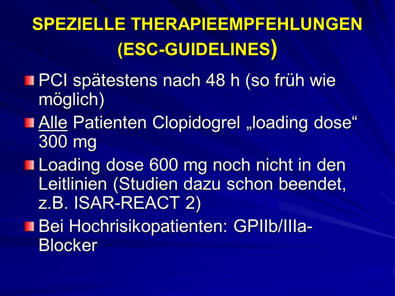 SPEZIELLE THERAPIEEMPFEHLUNGEN (ESC-GUIDELINES)