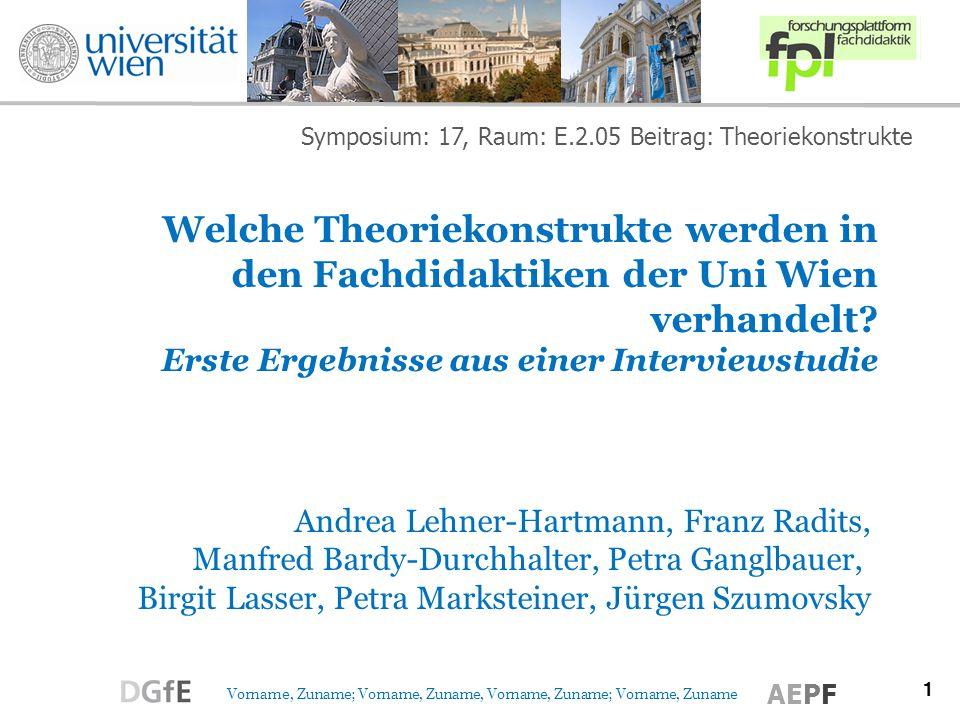 Symposium: 17, Raum: E.2.05 Beitrag: Theoriekonstrukte