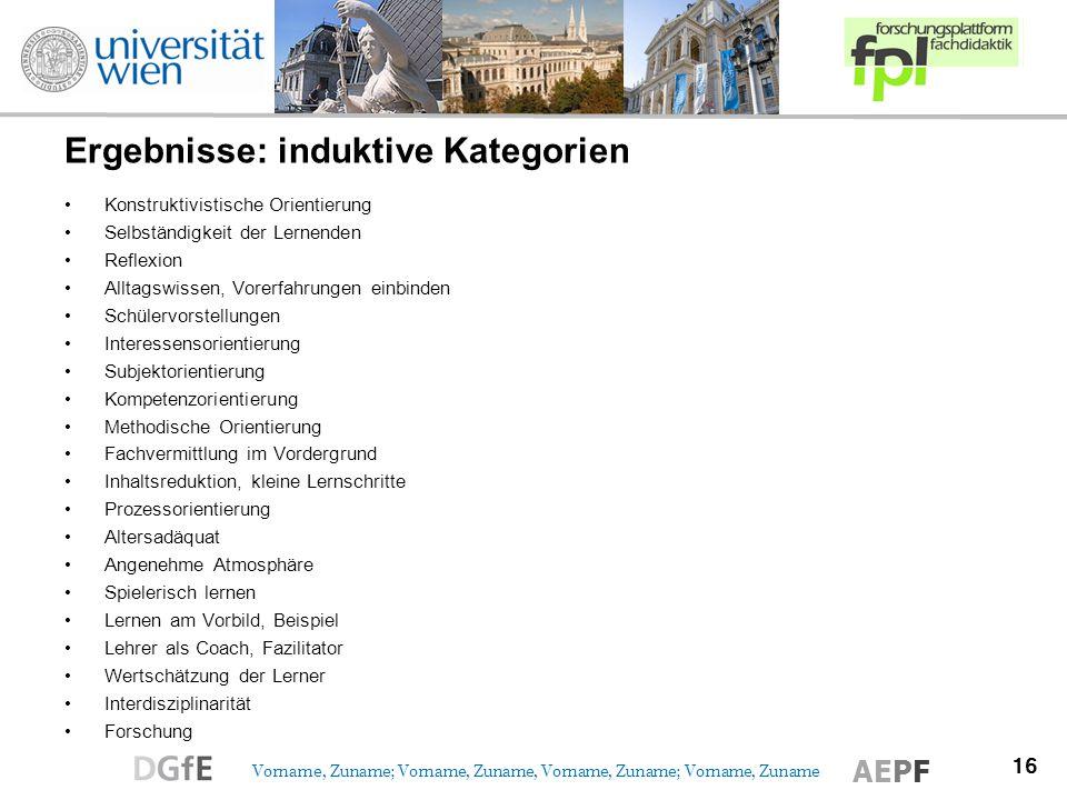 Ergebnisse: induktive Kategorien