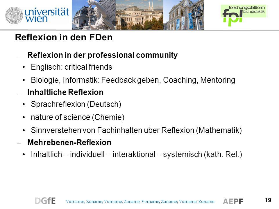 Reflexion in den FDen Reflexion in der professional community