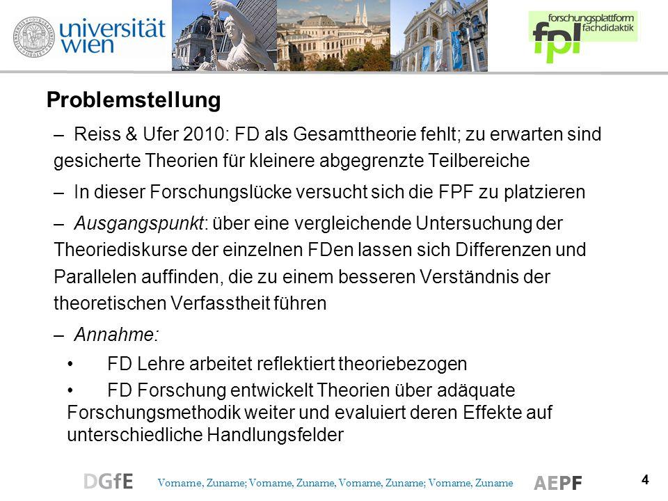 Problemstellung Reiss & Ufer 2010: FD als Gesamttheorie fehlt; zu erwarten sind gesicherte Theorien für kleinere abgegrenzte Teilbereiche.