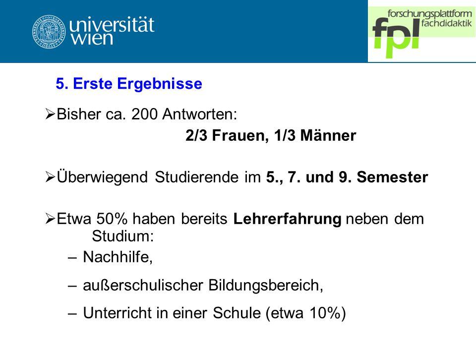 5. Erste Ergebnisse Bisher ca. 200 Antworten: 2/3 Frauen, 1/3 Männer. Überwiegend Studierende im 5., 7. und 9. Semester.