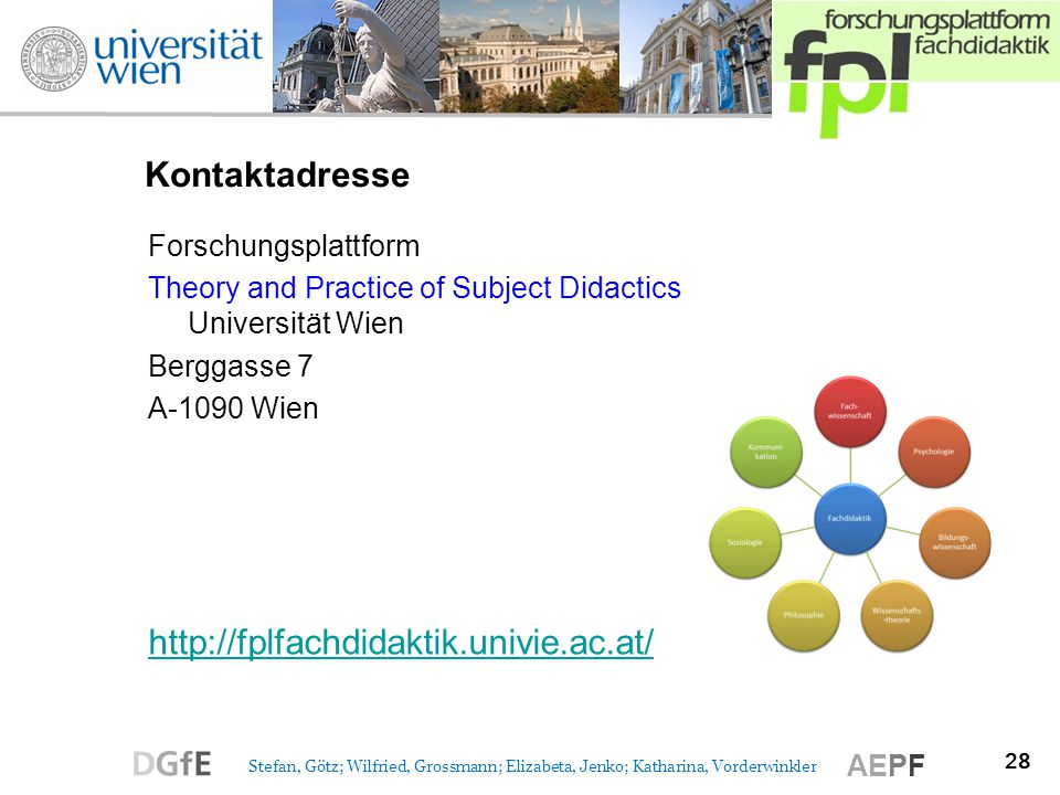 Kontaktadresse http://fplfachdidaktik.univie.ac.at/