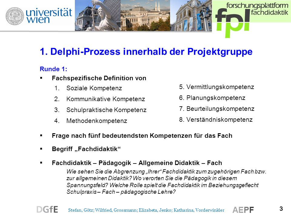 1. Delphi-Prozess innerhalb der Projektgruppe