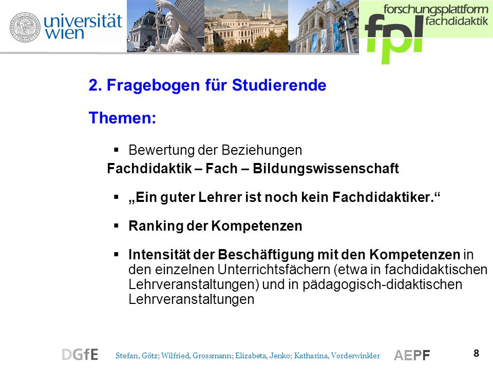 2. Fragebogen für Studierende