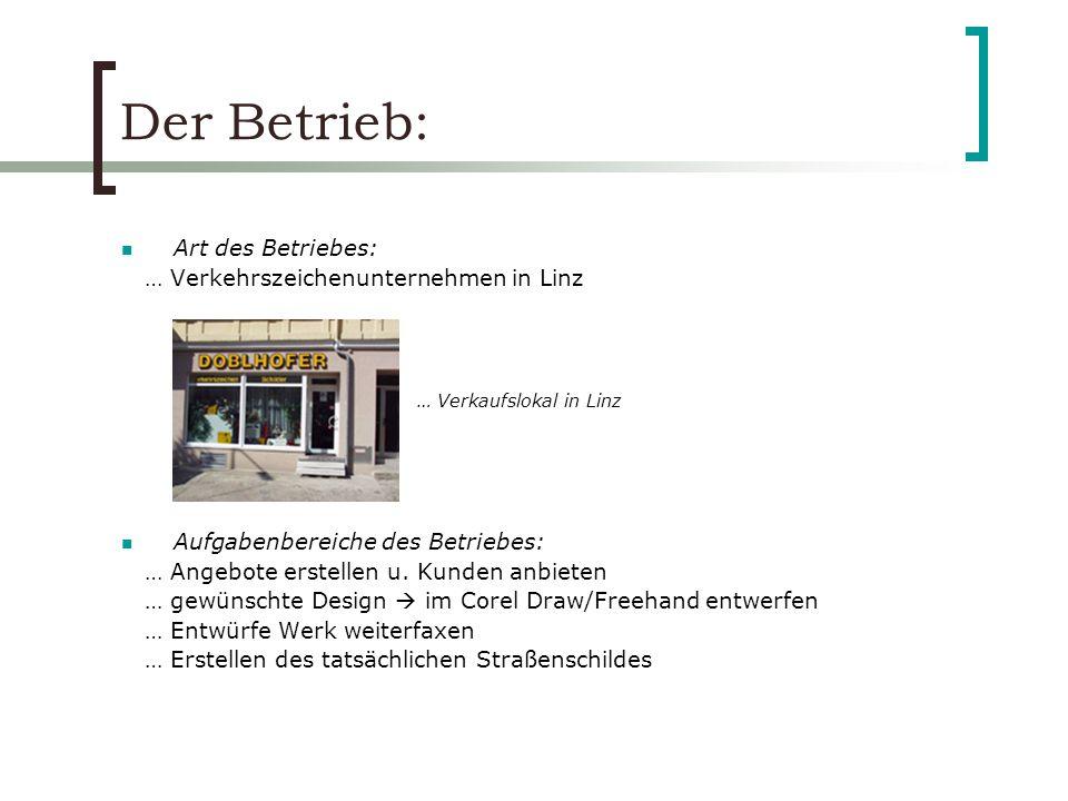 Der Betrieb: Art des Betriebes: … Verkehrszeichenunternehmen in Linz
